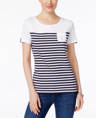 Image of Karen Scott Cotton Striped Studded-Anchor Top, Created for Macy's