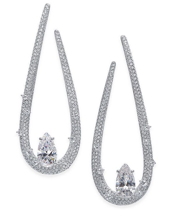 Danori Silver-Tone Cubic Zirconia Drop Earrings, Created for Macy's