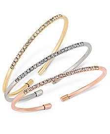 I.N.C. Tri-Tone 3-Pc. Set Crystal Bangle Bracelets, Created for Macy's