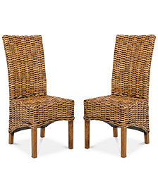 Heydon Set of 2 Wicker Dining Chairs, Quick Ship