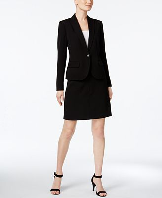 Anne Klein Executive Collection Single-Button A-Line Skirt Suit ...