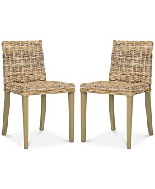 Larne Set of 2 Wicker Dining Chairs, Quick Ship