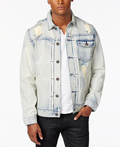 INC International Concepts Men's Ripped and Faded Denim Jacket ...