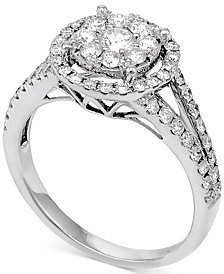 Diamond Double Halo Cluster Engagement Ring (7/8 ct. t.w.) in 14k White Gold