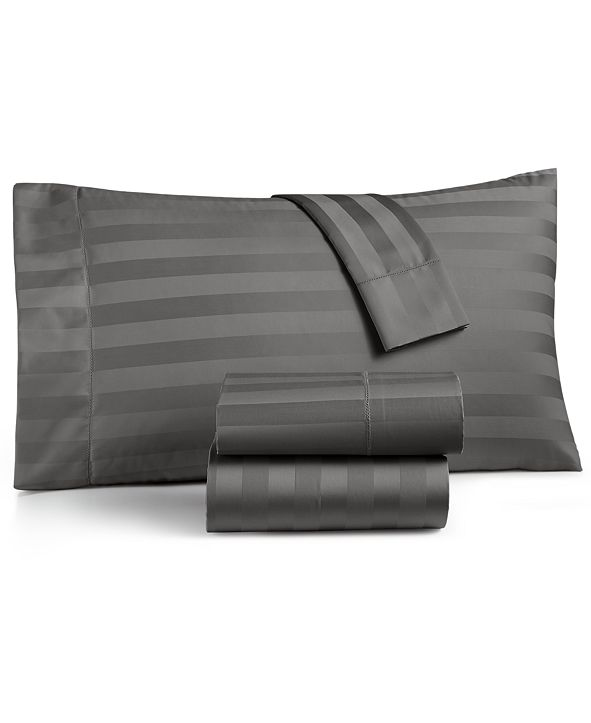"""Charter Club 1.5"""" Stripe Extra Deep Pocket Queen 4-Pc Sheet Set, 550 Thread Count 100% Supima Cotton, Created for Macy's"""