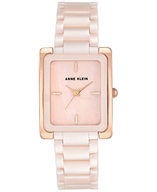 Anne Klein Women's Light Pink Ceramic Bracelet Watch 28x35mm AK-2952LPRG