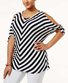 Belldini Plus Size Chevron Cold-Shoulder Top