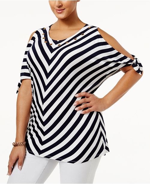 54dfbc15c7d6e Belldini. Plus Size Chevron Cold-Shoulder Top. 3 reviews. main image  main  image ...