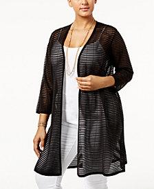 Alfani Plus Size Sheer-Stripe Duster Cardigan, Created for Macy's
