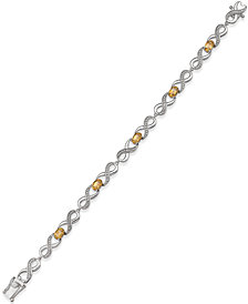 Semi Precious Gemstone (2-1/2 ct. t.w.) and Diamond Accent Bracelet in Sterling Silver (available in Peridot, Blue Topaz, Amethyst, Citrine, or Garnet)