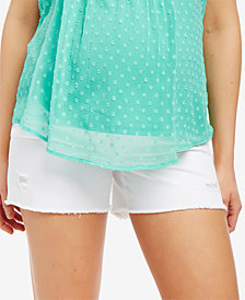 Motherhood Maternity Frayed-Hem Denim Shorts