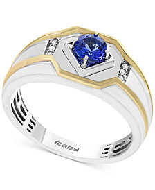 EFFY® Men's Tanzanite (3/8 ct. t.w.) and Diamond Accent Ring in 14k Gold and White Gold
