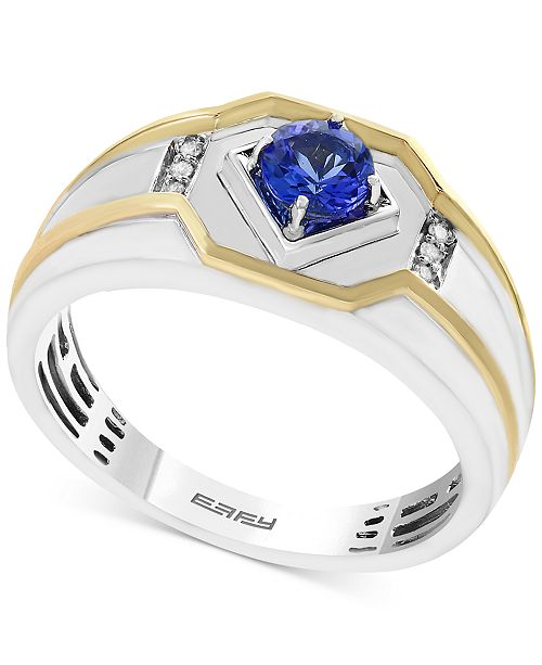 EFFY Collection EFFY® Men's Tanzanite (3/8 ct. t.w.) and Diamond Accent Ring in 14k Gold and White Gold