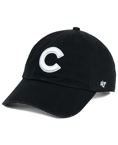 '47 Brand Chicago Cubs Black White Clean Up Cap