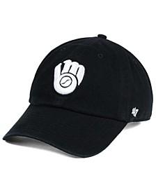 Milwaukee Brewers Black White Clean Up Cap