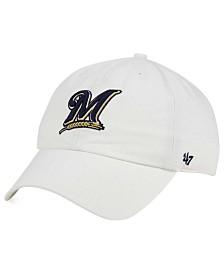 '47 Brand Milwaukee Brewers White Clean Up Cap