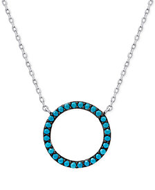 Manufactured Turquoise Circle Pendant Necklace in Sterling Silver