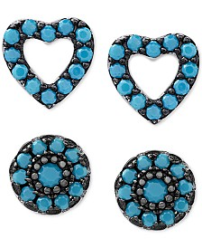 2-Pc. Set Manufactured Turquoise Heart and Oval Stud Earrings in Sterling Silver
