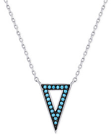 Manufactured Turquoise Triangle Pendant Necklace in Sterling Silver