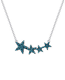 Manufactured Turquoise Stars Pendant Necklace in Sterling Silver