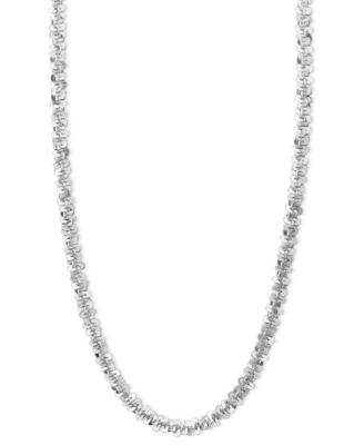"""14k White Gold Necklace, 16"""" Faceted Chain (1-1/2mm)"""