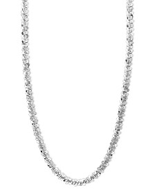 "14k White Gold Necklace, 16"" Faceted Chain (1-1/2mm)"
