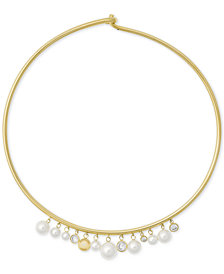 Michael Kors Gold-Tone Cubic Zirconia & Imitation Pearl Hinged Choker Necklace