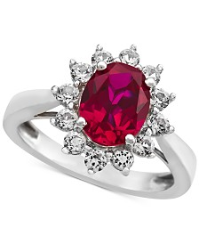 Lab-Created Ruby (1-3/8 ct. t.w.) & White Sapphire (5/8 ct. t.w.) Ring in Sterling Silver