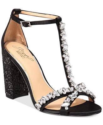 Jewel Badgley Mischka Carver Block-Heel Evening Sandals