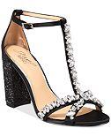 Jewel Badgley Mischka Carver Block-Heel Evening Sandals