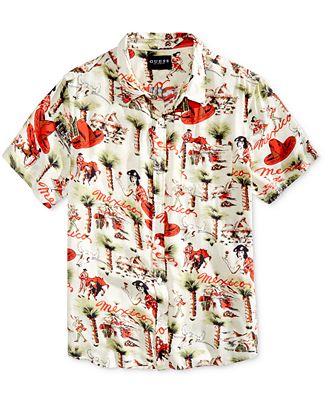 GUESS Men's Fiesta Print Shirt - Casual Button-Down Shirts - Men ...