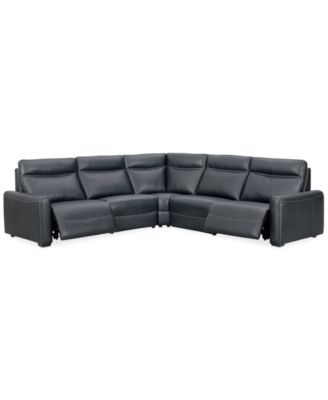 Marzia 5-Pc. Leather Sectional with 2 Power Recliners, Created for Macy's