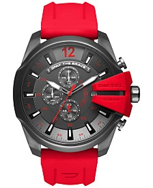 Diesel Men's Chronograph Mega Chief Red Silicone Strap Watch 51mm DZ4427