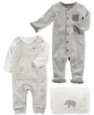 Carter's Elephant Blanket, Coverall & Clothing Set, Baby Boys & Girls