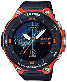 Casio Men's Pro Trek Black and Orange Resin Strap Smart Watch 62mm WSD-F20RG