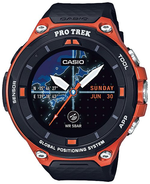 casio men 39 s pro trek black and orange resin strap smart watch 62mm wsd f20rg watches jewelry. Black Bedroom Furniture Sets. Home Design Ideas