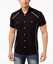 INC International Concepts Men's Contrast Trim Cotton Shirt, Created for Macy's