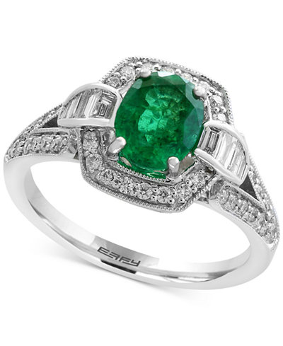 Brasilica by EFFY® Emerald (1-1/8 ct. t.w.) and Diamond (3/8 ct. t.w.) Ring in 14k White Gold, Created for Macy's