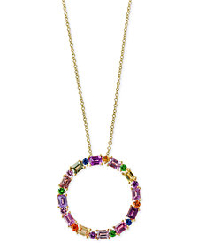 Water Colors by EFFY® Multi-Gemstone Circle Pendant Necklace (4 ct. t.w.) in 14k Gold