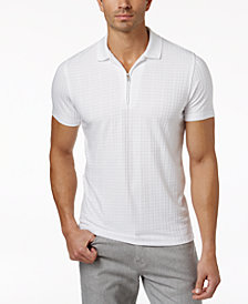 Alfani Men's Textured Zipper Performance Polo, Created for Macy's