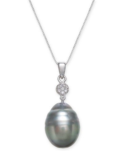 Cultured Black Tahitian Pearl (12 mm) and Diamond Accent Pendant Necklace in 14k White Gold
