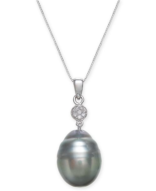 Macy's Cultured Black Tahitian Pearl (12 mm) and Diamond Accent Pendant Necklace in 14k White Gold