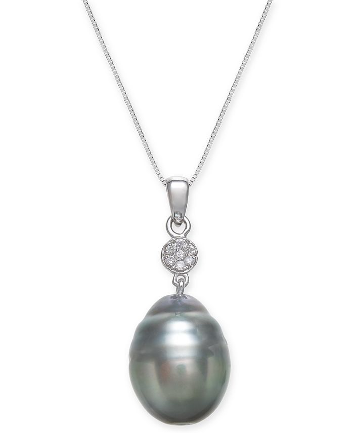 Macy's - Cultured Black Tahitian Pearl (12 mm) and Diamond Accent Pendant Necklace in 14k White Gold