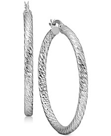 Textured Round Hoop Earrings in Sterling Silver