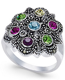 Multicolor Crystals and Marcasite Ring in Silver-Plate