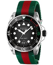Men's Swiss Diver Green and Red Nylon Strap Watch 44mm