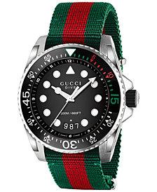 Gucci Men's Swiss Dive Green and Red Nylon Strap Watch 44mm YA136209