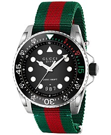 Gucci Men's Swiss Dive Green and Red Nylon Strap Watch 44mm YA136209