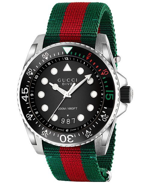 e6732f64740 ... Gucci Men s Swiss Dive Green and Red Nylon Strap Watch 44mm YA136209 ...