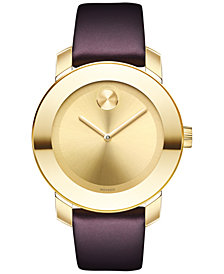 Movado Women's Swiss BOLD Burgundy Leather Strap Watch 36mm 3600456